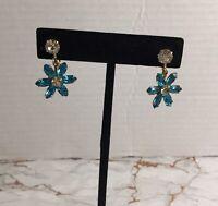 Vintage 1/20 12k Gold Filled Flower Blue Rhinestone Screw Back Earrings #A37
