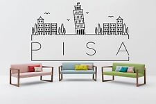 Wall Vinyl Sticker Decal Skyline Horizon Panorama City Pisa Italy World F1815