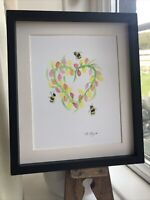 Bumble Bees, Tulips Heart, Original Watercolour Painting, Signed Art