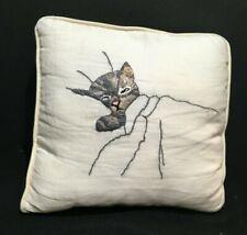Vintage Chessie Cat of Chesapeake and Ohio Railroad Crewel Work Pillow