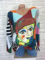 flauschig Feinstrick Shirt Pulli Pullover Lurex Kanten Strass 36 38 40 E736 NEU