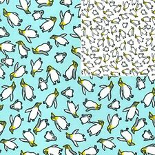 Printed Polyester Cotton Fabric - Penguins - 7213