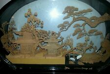 OLD CHINESE CORK CARVING LANDSCAPE IN BLACK, LACQUERED GLASS CASE. AWESOME!