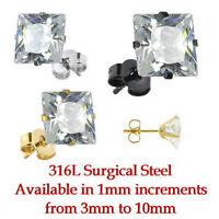 Square CZ Gem Stud Earrings 3mm,4mm,5mm,6mm,7mm,8mm,9mm,10mm Steel, Gold, Black