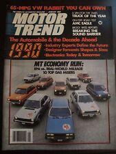 Motor Trend Magazine January 1980 Top 10 Gas Misers VW Rabbit (T) (XX) NN