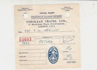 Tyrolean Travel Limited Knightsbridge London Official Stamp Receipt Ref 35666