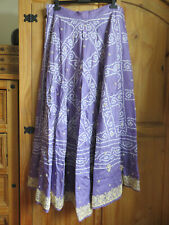 HEAVY BEADED SARI TYPE FABRIC UNFINISHED MAXI SKIRT LILAC - FOR GREYHOUND RESCUE