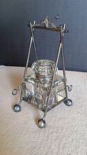 Antique Crystal & Silver Plate Ink Stand