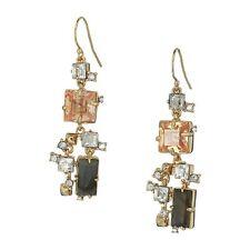 Alexis Bittar Geometric Multi-Color Stone Crystal Gold Wire Hook Drop Earrings