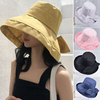 Women's Anti-UV Wide Brim Summer Beach Cotton Bucket Sun Protective Hat