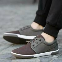 Fashion Men Breathable Oxfords Casual Leather Shoes Flat Lace up Canvas Sneakers