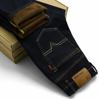 Mens Winter Thicken Jeans Denim Stretch Warm Mid-Rise Fit Straight Leg Pants