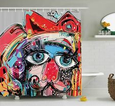 Art Decor Shower Curtain, Graffiti like Sketchy Colorful Painting with Human