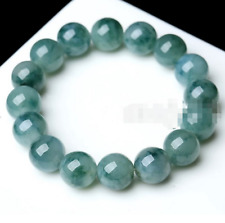 10mm 100% Natural A Grade Green Jade Jadeite Round Gemstone Beads Bracelet 7.5''