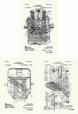 Oliver Typewriter 3 Patent Print Reproductions