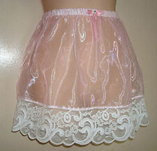 "Adult sissy -Cross Dresser-Sheer Organza PINK Satin SLIP SKIRT w/ Lace 14"" Long"