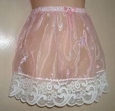 "Adult sissy -Cross Dresser-Sheer Organza PINK Satin SLIP SKIRT w/ Lace 16"" Long"