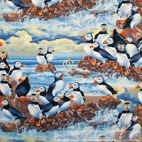 BonEful Fabric FQ Cotton Quilt Blue Black White B&W Orange Penguin Puffin Water