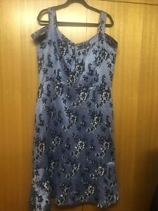 Phase-eight Designer Lined Dress Cornflow Size 18