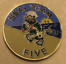 Naval Special Warfare SEAL Team 5 Large Baked Enamel Navy Challenge Coin Five