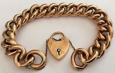 Fabulous Ladies Antique Victorian Rose 9Ct Gold Bracelet & Padlock 24.7 Grams
