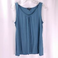 Eileen Fisher Scoop Neck Tank Top Size PM Solid Blue Silk Jersey