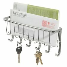 Wall Mounted Chrome Letter Rack With Key Hooks Mail Organiser Holder Home Box