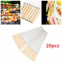 20Pcs Stainless Steel BBQ Skewers Flat Sticks Barbecue Grill Needle Camping Fork