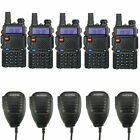 5x BaoFeng UV-5R + 5x Original Speakers Dual Band VHF/UHF Ham Two-way Radio
