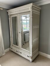 More details for french style vintage antique double wardrobe mirror armoire annie sloan painted