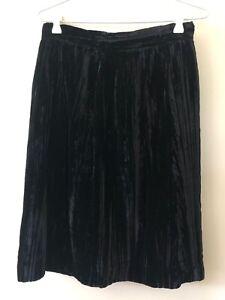 Simona Black Y2K Size 12 Velour Vintage A Line 90s Designer Below Knee Skirt Zip