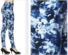 Soft Peach Skin Texture One Size Leggings fits size 2-16 Blue / White Tie Dye