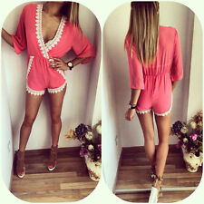 AU Women Bodycon Sexy Clubwear Romper Jumpsuit Dress Party V Neck Pants Size S