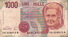 BANCONOTA ITALIANA DA 1000 LIRE MONTESSORI SERIE FG 328813 A SC-7