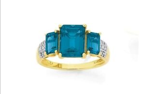9ct Gold Blue Topaz and Diamond Trilogy Ring