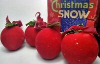 Vintage Christmas Ornaments RED FLOCKED APPLES w/ Green Leaves lot of 4