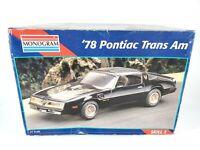 Monogram '78 Pontiac Trans Am 1:24 Scale Model Kit Open Box Complete # 2716