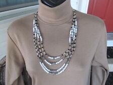WHITE HOUSE BLACK MARKET  Black & White & Crystal Beaded 4 Strand Necklace