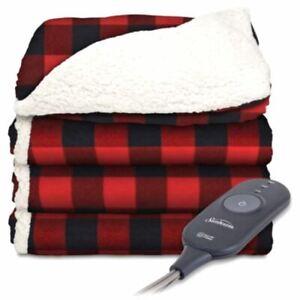 Sunbeam Electric Microplush SHERPA Heated Throw Blanket 60x50 Reversible RED/BLA