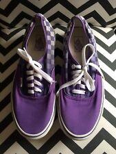 VANS Purple Checker Canvas Low Top Skate SHOES Lace Up Mens 9.5 Womens 11