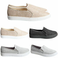 Womens Ladies Glitter Slip On Pumps Flat Casual Skater Plimsllos Shoes Size