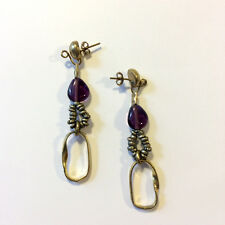 Pendant Earrings Bronze Golden and Pearl Violet