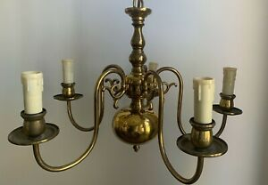 Antique 5 arm chandelier burnished bronze, full working order, lovely example.