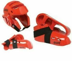 Red Karate Sparring Gear Set Package For Child and Adult Taekwondo Fighting