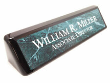 Desk name plate black wood piano finish desk wedge with green marble look plate