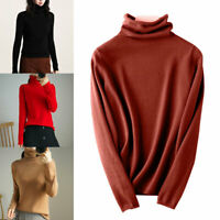 Women's Slim Knitted Turtleneck Cashmere Jumper Wool Pullover Solid Sweater