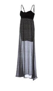 Billabong Broken Up Maxi Dress Black White Large L Spaghetti Strap Sheer