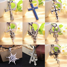 Men Women Jewelry Stainless Steel Cross Pendant Necklace Leather Party Cool Gift