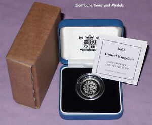 2002 ROYAL MINT SILVER PROOF £1 COIN  - English Three Lions Design - BOXED