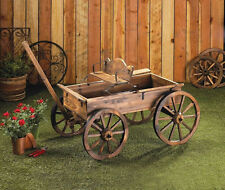 LARGE WOOD Wagon ROLLING country flower cart plant pot stand Planter yard statue